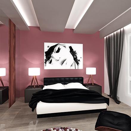 Sypialnia w willi  womanie III proste wnętrze (1)