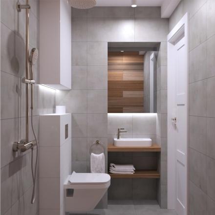 Mała łazienka w bloku w Krakowie - APP Proste Wnętrze