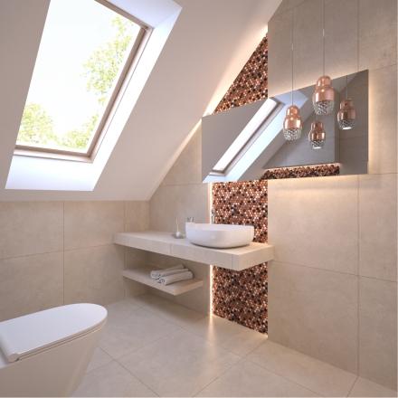 łazienka z mozaiką na projekcie