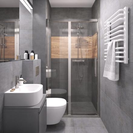 projekt szarej męskiej łazienki
