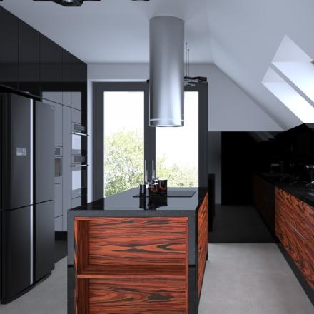 projektowanie wnętrz w Krakowie kuchnia palisander