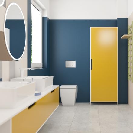 projektant wnętrz tworzy kolorową łazienkę dla dzieci