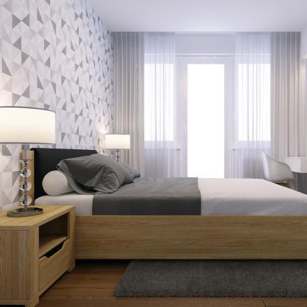projekt wnętrza modnej i nowoczesnej sypialni
