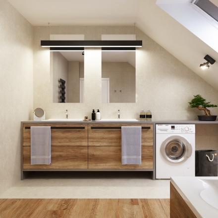 projektant wnętrz wkomponowała drewno w łazience