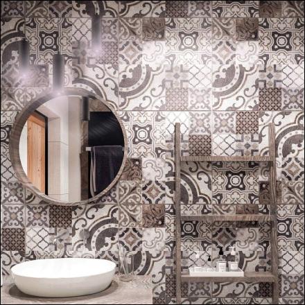 patchorkowa łazienka w wykonaniu projektant wnętrz z Krakowa