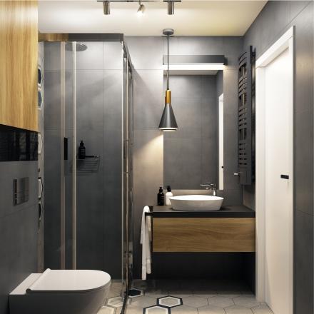 projekty wnętrz - ciemna łazienka