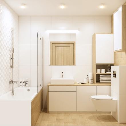 projektowanie wnętrz prostej i jasnej łazienki w Krakowie