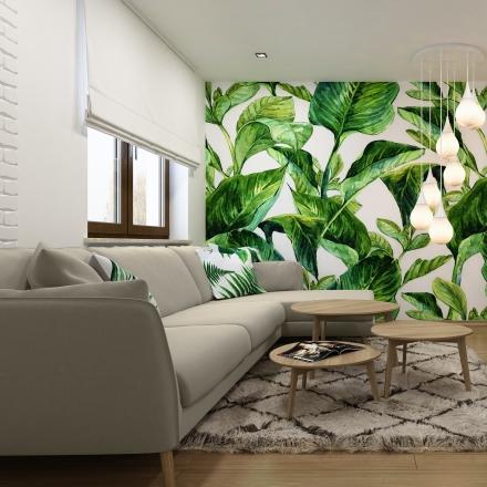 salon z motywem liści w centrum Krakowa
