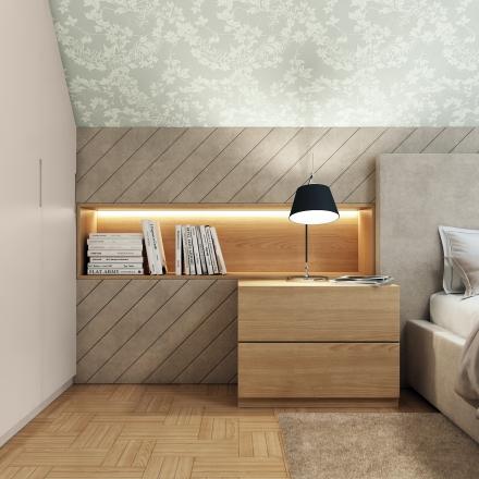 sypialnia ze skosem w Krakowie - autor projektant wnętrz M.Podobińska