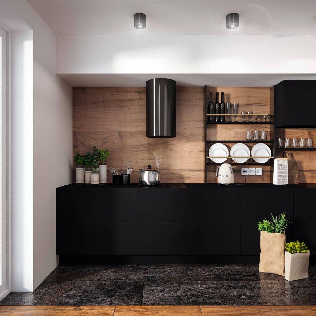 Czarna kuchnia kuchnia w drewnie projekt najpiękniejsza kuchnia