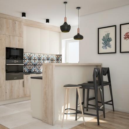 Kuchnia z niebieską mozaiką autorstwa projektant wnętrz M.Podobińskiej z Krakowa