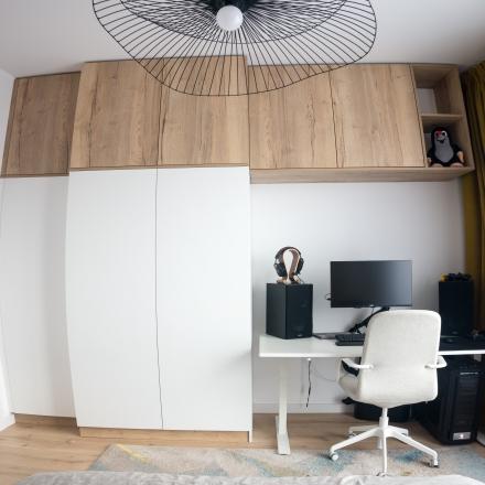 sypialnia z wydzielonym miejscem do pracy według projektant M.Podobińska - Kraków
