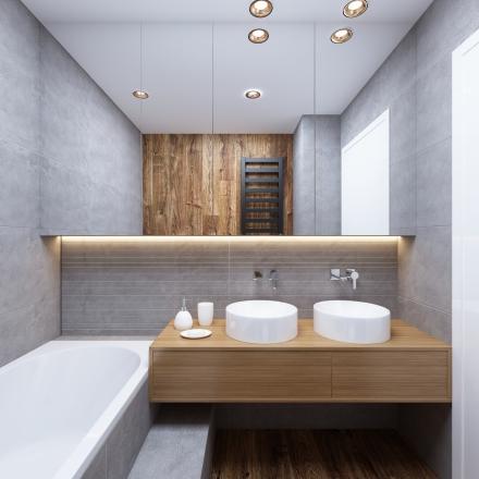 Projektant M.Podobińska - łazienka z płytką porcelanosa