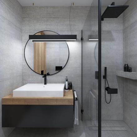 projekt wnętrza łazienki z czarnymi bateriami