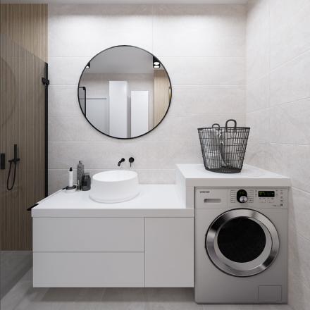 projekt jasnej łazienki z czarnymi dodatkami