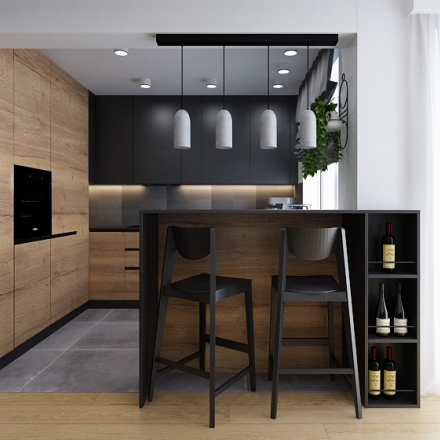 projekt kuchni i salonu beton drewno w domku pod Krakowem
