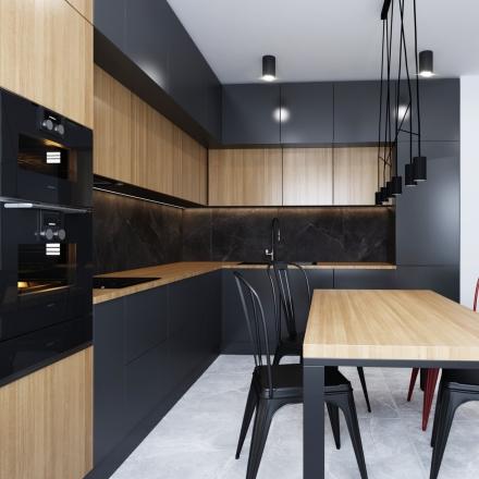 prosta i nowoczesna kuchnia z salonem na projektach wnętrz