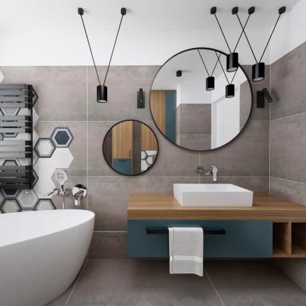 Łazienka z heksagonalną płytką - projekty wnętrz
