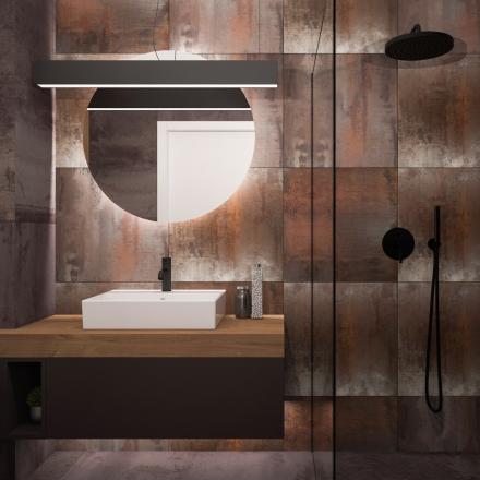 projektant wnętrz APP Proste Wnętrze - łazienka z kortenową płytką