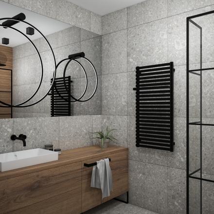 Łazienka z szarą płytką według projektant wnętrz M.Podobińska