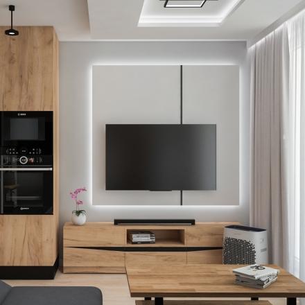 Projekty wnętrz salon z aneksem w mieszkaniu w Krakowie
