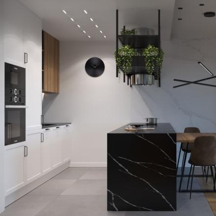 nowoczesna kuchnia z czarnym blatem od projektant wnętrz