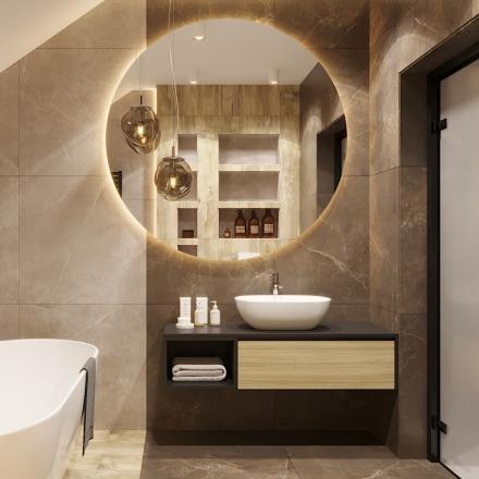 salon kąpielowy w odcieniach brązu - projektowanie wnętrz APP Proste Wnętrze