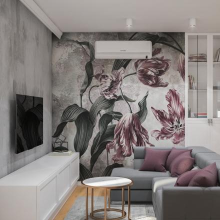 projektowanie wnętrz salonu z motywem kwiatowym
