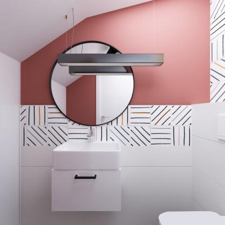 projektowanie wnętrz wc z kolorową ścianą