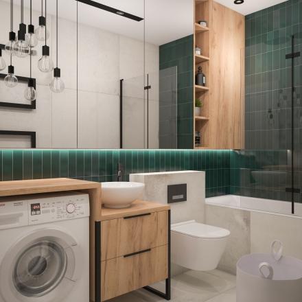 zielona łazienka autorstwa projektant wnętrz M.Podobińska